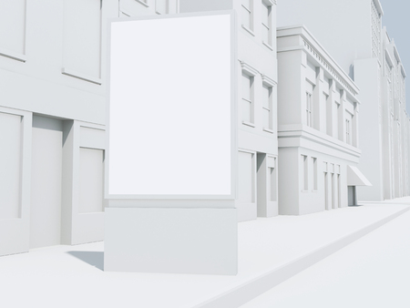 rendering: 3d renderer image. Street banner mock up. Stock Photo