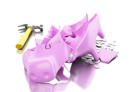 3D Illustration. Broken piggy bank with hammer and coins. Isolated white background.