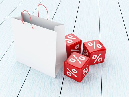 3D Illustration. Shopping bags and red Discount icons. Sale concept. Stock Photo