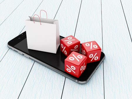 3D Illustration. Smartphone with shopping bag and discount icons. Shop online concept.