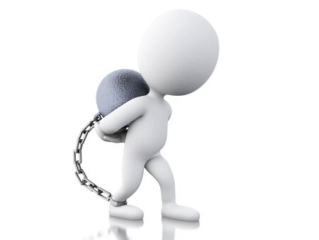 3d renderer image. Punished criminal tied with iron ball. Isolated white background. Stock Photo