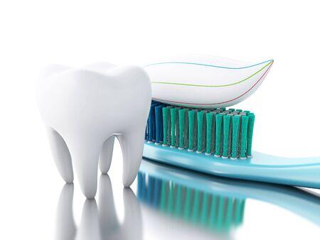 Illustrazione 3D. Dente con spazzolino e dentifricio. igiene dentale e il concetto di salute. Isolato sfondo bianco. Archivio Fotografico - 67320447