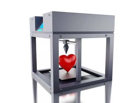 3D Illustration. Three dimensional printer printed a heart. New techology concept. Isolated white background.