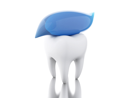 3D Illustration. Tooth with toothpaste. dental hygiene and health concept. Isolated white background.