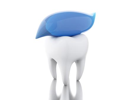 enjuague bucal: Ilustración 3D. Diente con pasta de dientes. la higiene dental y el concepto de salud. fondo blanco aislado.
