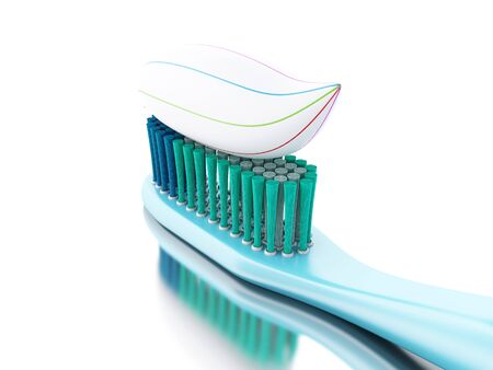 3D Illustration. Toothbrush with toothpaste. dental hygiene and health concept. Isolated white background.