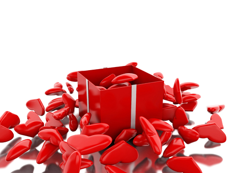 3d renderer image. Red gift box with hearts. San valentin concept. Isolated white background. Stock Photo