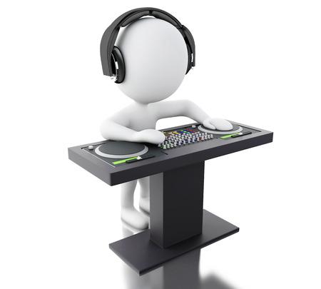 3D-Darstellung. Weiße Menschen Discjockey mit Mixer und Kopfhörer. Isolierte weißem Hintergrund. Standard-Bild - 67339475