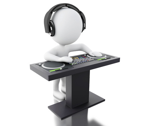 disk jockey: 3d Illustration. White people disc jockey with mixer and headphones. Isolated white background.