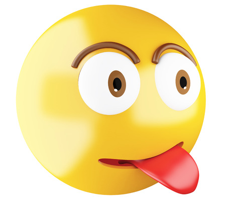joking: 3D Illustration. Emoji icon with tongue out. Emoji symbol concept. Isolated white background.