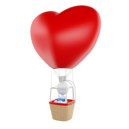 3d renderer image. White people on heart-shaped aerostatic balloon with gift box. Love concept. Isolated white background. Stock Photo
