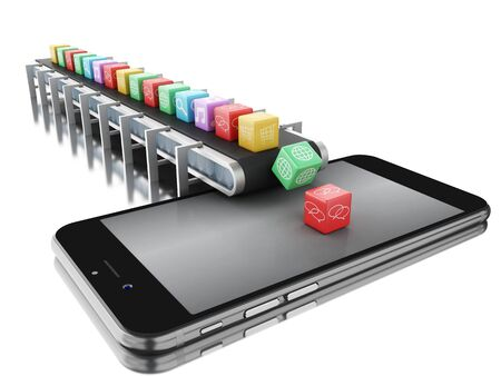 3d renderer image. Conveyor belt with app icons and smartphone. Technology concept. Isolated white background.