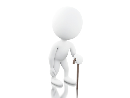 sustained: 3d renderer image. 3d White people with walking stick. Isolated white background. Stock Photo