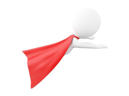 isolated on red: 3d renderer image. Super hero with red cape. Isolated white background. Stock Photo