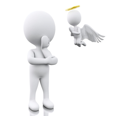yes or no: 3D Illustration. White people contemplation a decision with Angel. Isolated white background.