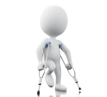 3d renderer image. White people with crutches. Isolated white background.
