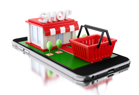 3D illustration. Smartphone with store. Shop online concept. Isolated white background. Stock Photo