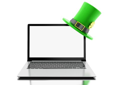 3d render iliustration. Laptop with blank screen with St. Patricks hat. St patricks day concept. Isolated white background