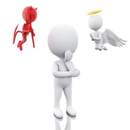 indecisive: 3D Illustration. White people contemplation a decision with Angel and Devil. Isolated white background. Stock Photo