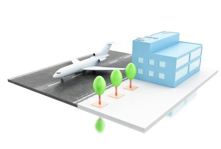 jetliner: 3d ilustration. Airport terminal and airplane. Transport concept. Isolated white background