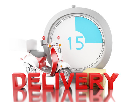 packaged: 3d ilustration. Delivering cardboard boxes with motorbike.Fast moving and delivery concept. Isolated White background Stock Photo
