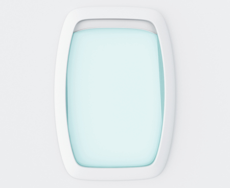 sidelight: 3d ilustration. Blank window of airplane . Fligth concept.
