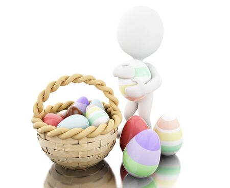 people: 3d illustration. White people with Decorated easter eggs in a basket. Isolated white background