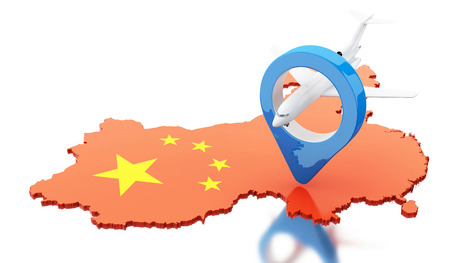 3d renderer image. China map with map pointer and airplane. Travel concept. Isolated white background