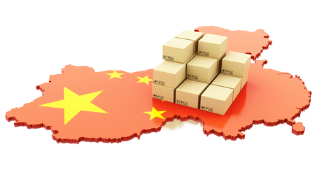 3d renderer image. China map with cardboard boxes. Global Shipping and on line shopping concept. Isolated white background