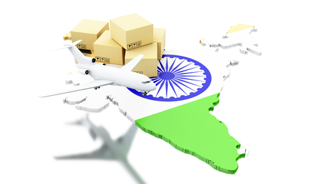 3d renderer image. India map with cardboard boxes and airplane. Global Shipping and on line shopping concept. Isolated white background Stock Photo