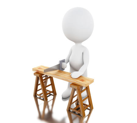 3d renderer image. White people carpenter cutting wood with a handsaw. Isolated white background.