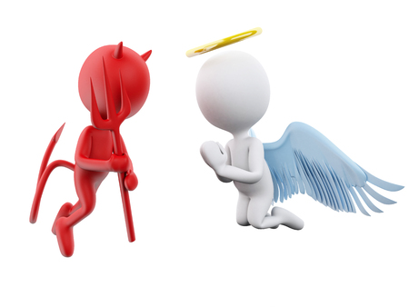 indecisive: 3D Illustration. Angel and Devil. Isolated white background.