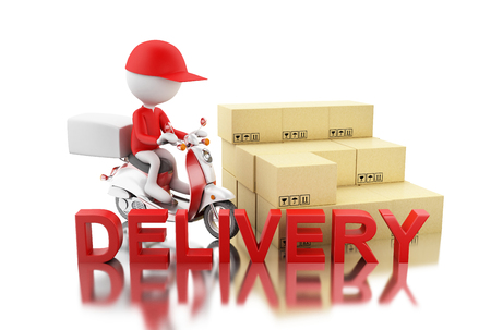 3d illustration. White people delivering boxes with motorbike. Delivery concept. Isolated White background Stock Photo