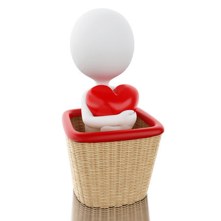 3d renderer image. White people on air ballon basket with a heart. Love concept. Isolated white background.