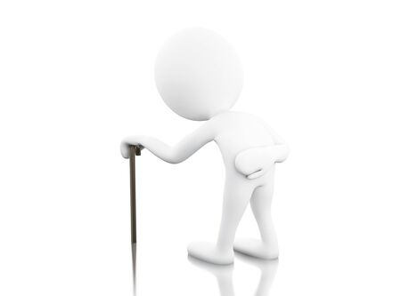 grandad: 3d renderer image. 3d White people with walking stick. Isolated white background. Stock Photo