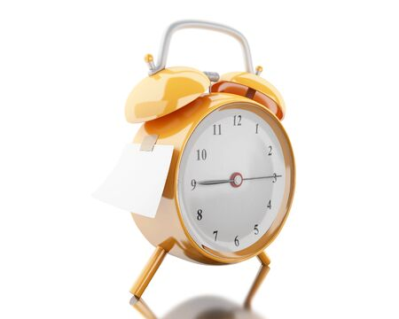 3d illustration. Alarm clock with empty sticky paper. Reminder concept. Isolated white background