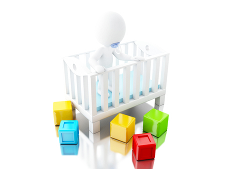 3D illustration. Newborn character on crib with toys. Baby concept. Isolated white background