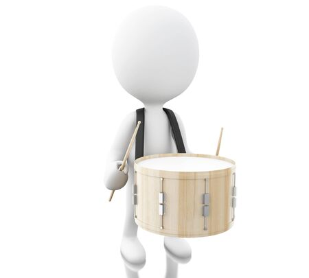 drumming: 3d illustration. White people playing drum With the drumsticks. Isolated white background