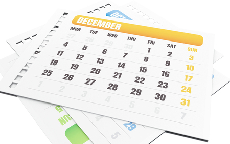 3d illustration. Stack of pages tears off calendar. December calendar. Isolated white background