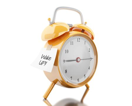 note pad: 3d illustration. Alarm clock with sticky paper written wake up. Reminder concept. Isolated white background