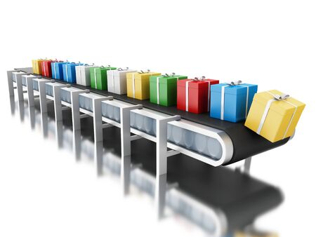3d renderer image. Conveyor belt with gift boxes. Isolated white background.
