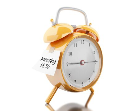 3d illustration. Alarm clock with sticky paper written meeting 14.30. Business concept. Isolated white background Stock Photo