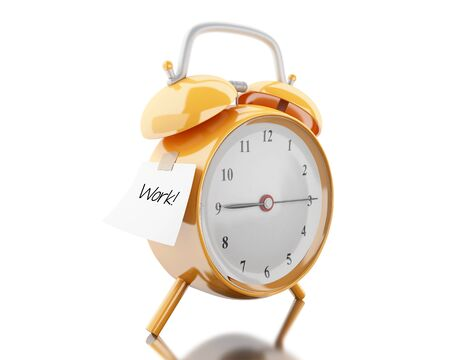 3d illustration. Alarm clock with sticky paper written work. Business concept. Isolated white background