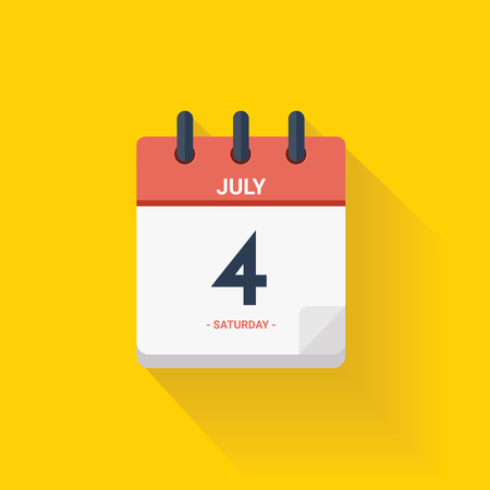 Vector illustration. Day calendar with date July 4, 2017. Independence concept. Yellow background Illustration