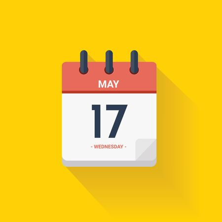 Vector illustration. Day calendar with date May 17, 2017. Yellow background Illustration