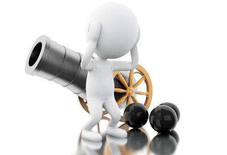 3d illustration. White people with old cannon and cannonballs. Isolated white background