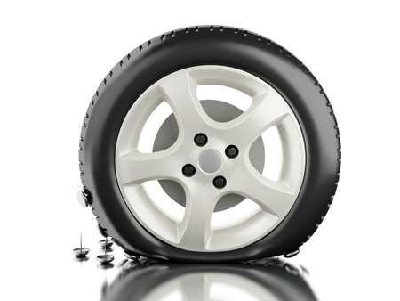 3d illustration. Close up of flat tire. Tire service concept. Isolated white background.