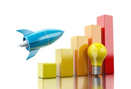 3d illustration. Rocket aiming for the top of bar graph. Success bussiness concept concept. Isolated white background