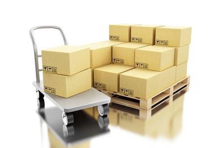 3d ilustration. Kartonnen dozen op een pallet. Levering en transport pakket concept. Geïsoleerde witte achtergrond