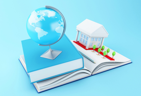 3d illustration. Stack of book with graduation cap, notebook, globe, rolled diploma and university building. Education concept. Stock Photo